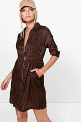Boohoo Kady Utility Zip Front Cupro Shirt Dress Chocolate
