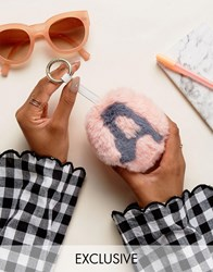 My Accessories Faux Fur A Initial Pom Keyring Multi Pink