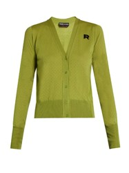 Rochas Eyelet Knit Wool Cardigan Light Green
