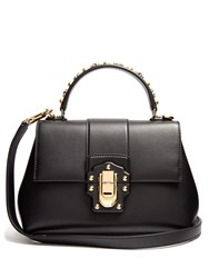 Dolce And Gabbana Lucia Small Stud Embellished Leather Bag Black
