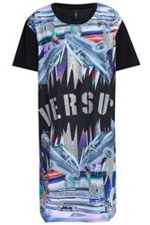 Versus By Versace Metallic Printed Cady And Cotton Jersey Mini Dress Black