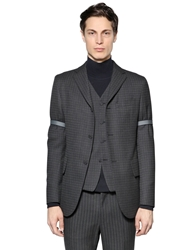 Zzegna Checked Wool Jacket Dark Grey