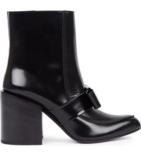 Marni Bow Detail Leather Ankle Boots Black Black