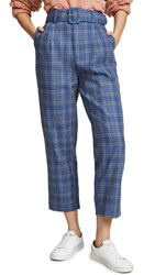 Moon River High Rise Belted Pants Blue Plaid