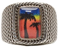 Saint Laurent Silver Palm Tree Ring