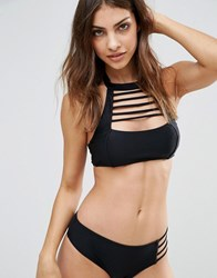 Evil Twin Slashed Neck Crop Bikini Top Black