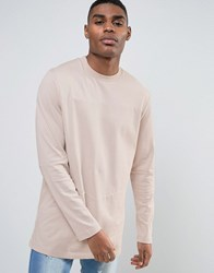 Asos Heavy Jersey Long Sleeve T Shirt With Cut And Sew Panel Pink