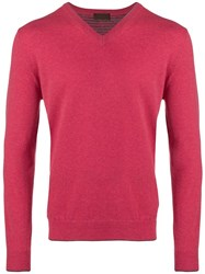 Altea Fine Knit V Neck Sweater Pink And Purple