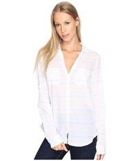 Columbia Sun Drifter L S Shirt Iceberg Stripe Women's Long Sleeve Button Up White