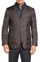 Men's Big And Tall Corneliani Classic Fit Quilted Jacket Dark Brown Solid