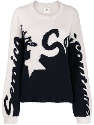 Semicouture Logo Two Tone Knit Sweater 60