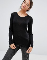 Only Zip Back Fine Knit Jumper Black