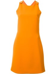 Carven Criss Cross Back Dress Yellow And Orange