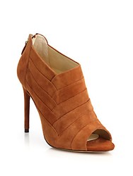 Alexandre Birman Petals Suede Peep Toe Ankle Booties Brown