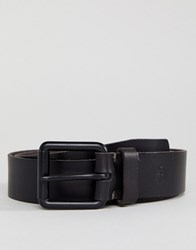 Timberland Quad Stitch Tip Leather Belt Small Logo In Black