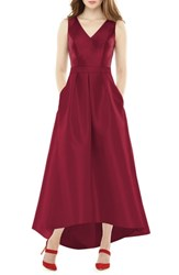 Alfred Sung High Low Sateen Twill Gown Burgundy
