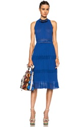 M Missoni Tiered Halter Cotton Blend Midi Dress In Blue