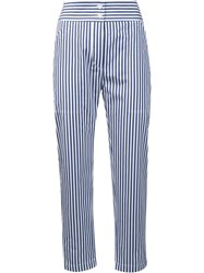 Adam By Adam Lippes Striped Cropped Trousers Blue