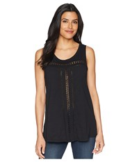 Mod O Doc Slub Jersey Swingy Tank Top With Lace Trim Black Sleeveless