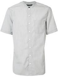 Wings Horns Mandarin Neck Shortsleeved Shirt Grey