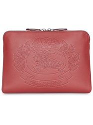 Burberry Embossed Crest Leather Document Case Red