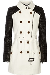 W118 By Walter Baker Keanu Faux Leather And Cotton Twill Trench Coat White