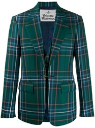 Vivienne Westwood Checked Single Breasted Blazer Green