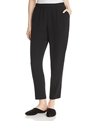 Eileen Fisher System Slouchy Silk Ankle Pants Black