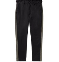 Isabel Benenato Black Slim Fit Tapered Striped Linen And Cotton Blend Trousers Black