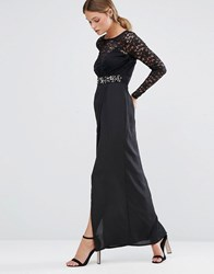 Elise Ryan Embellished Lace Maxi Dress With Thigh Split Black