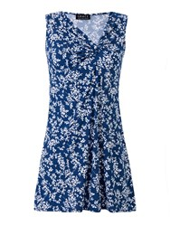 Grace Made In Britain Print Tunic Top Blue