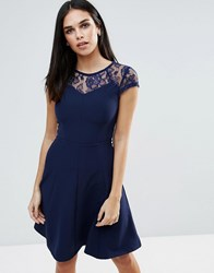 Paper Dolls Lace Detail Fluted Swing Dress Navy
