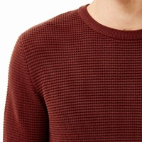 River Island Mens Rust Brown Waffle Long Sleeve T Shirt