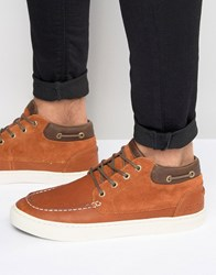 Pointer Taylor Mid Plimsolls In Leather Brown