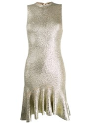 Alexander Mcqueen Laddered Knit Dress Gold