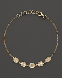 Bloomingdale's Diamond Pave Honeycomb Bracelet In 14K Yellow Gold .19 Ct. T.W. Yellow Gold White Diamonds