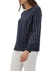 8d2ad5190cce19 Jaeger Contrast Stripe Top Blue Navy