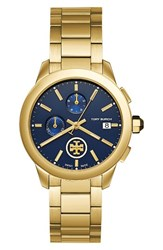 Tory Burch Women's Collins Chronograph Watch 38Mm Gold Navy Gold