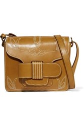 Trademark Greta Embroidered Leather Shoulder Bag Tan