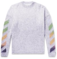 Off White Oversized Printed Mohair Blend Sweater Gray
