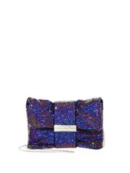 Jimmy Choo Holographic Multicolor Crystal Clutch Madeline Blue