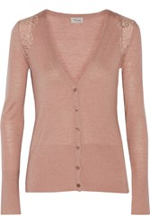 Temperley London Grace Lace Trimmed Stretch Wool Silk And Cashmere Blend Cardigan Pink
