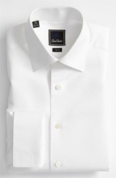 David Donahue Men's Big And Tall Trim Fit Twill French Cuff Tuxedo Shirt Solid White