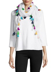 Lord And Taylor Tassel Trim Square Scarf White