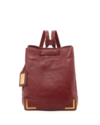 Badgley Mischka Willow Leather Bucket Backpack Tomato