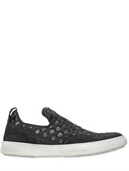 Bruno Bordese Woven Elastic And Leather Sneakers