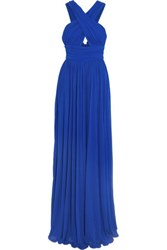Michael Kors Collection Ruched Cutout Stretch Jersey Gown Cobalt Blue