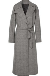 Nili Lotan Topher Distressed Prince Of Wales Checked Wool Blend Tweed Coat Gray