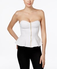 Guess Strapless Zip Front Peplum Top Ever White