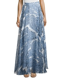 Milly Printed Silk Maxi Skirt Denim Blue